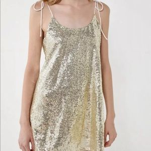 ban Outfitters Sequin Fabric  Dress Pale Gold M